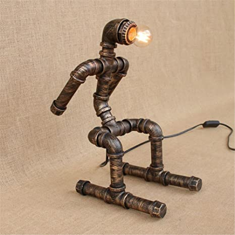Xspwxn Vintage Industriale Lampada Da Tavolo Rustico Rame