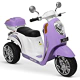Kidzone Purple Ride On Scooter 6V Toy Battery Powered Electric 3-Wheel Power Bicycle W/ Music, Horn, Headlight