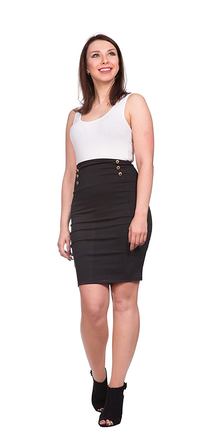12bea8bc96 OrlyCollection Women's Elegant Gold Button Slim Fit Midi Stretchy Pencil  Skirt -Detailed for Office Wear- Made in USA at Amazon Women's Clothing  store: