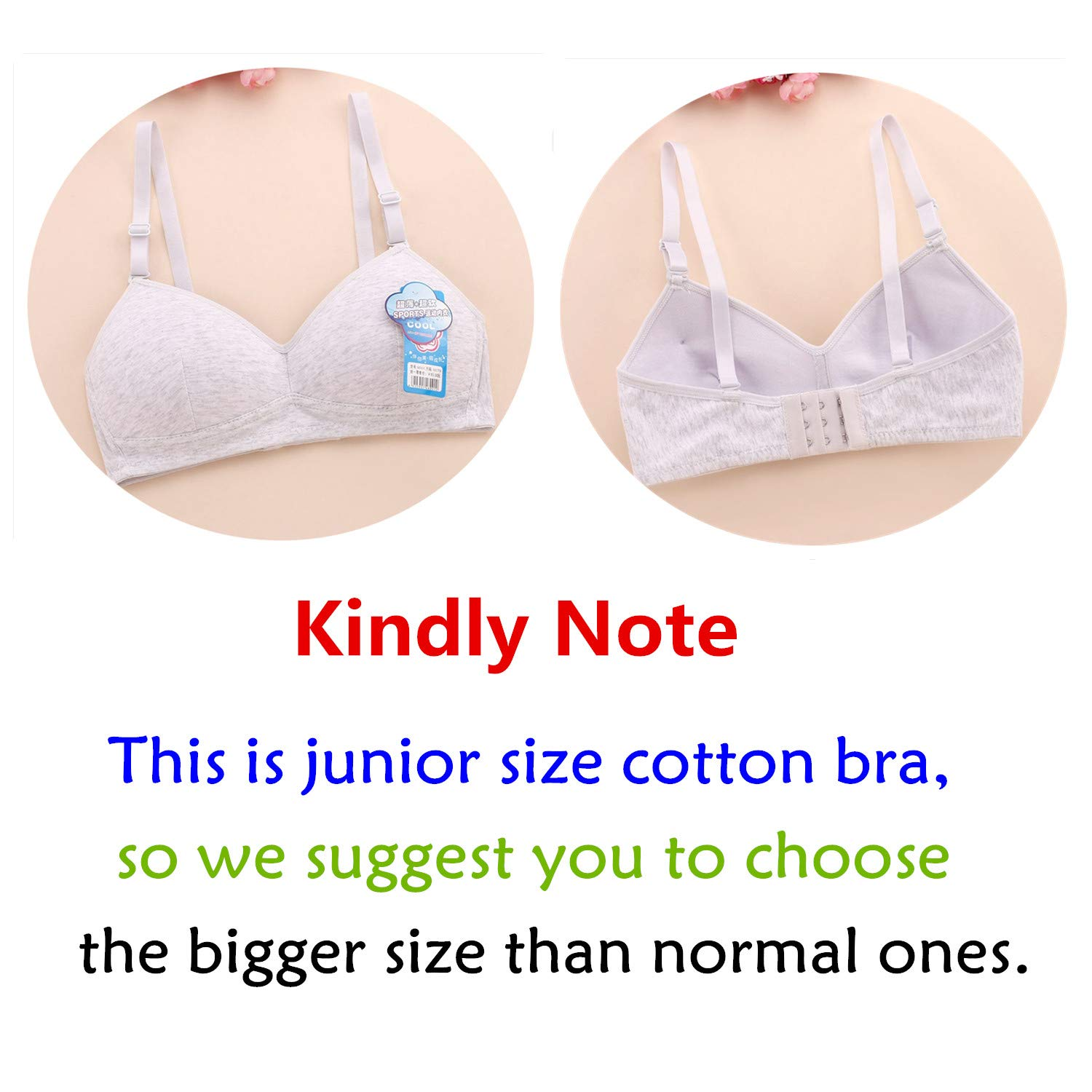 MANJIAMEI Women Teen Girls Thin Cotton Breathable Sports Bra Wire Free Push up Running A-Cup Bra Solid