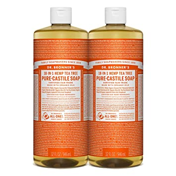 Dr  Bronner's 18-IN-1 Hemp Tea Tree Pure-Castile Soap, Tea Tree Oil, 32  Ounce, Pack of # 2
