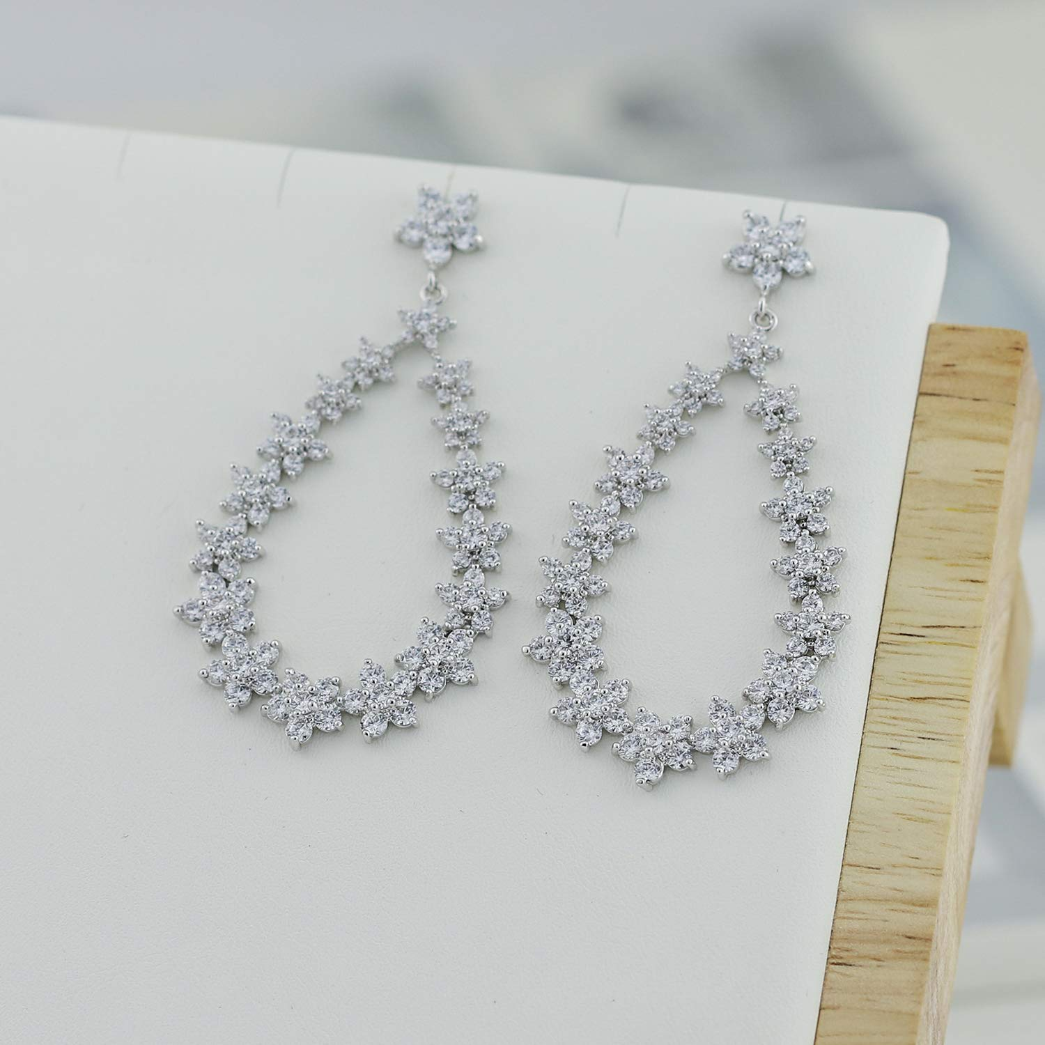 SEPBRIDALS Crystals Zirconia CZ Drop Dangle Earrings with 925 Silver Pin CE10290