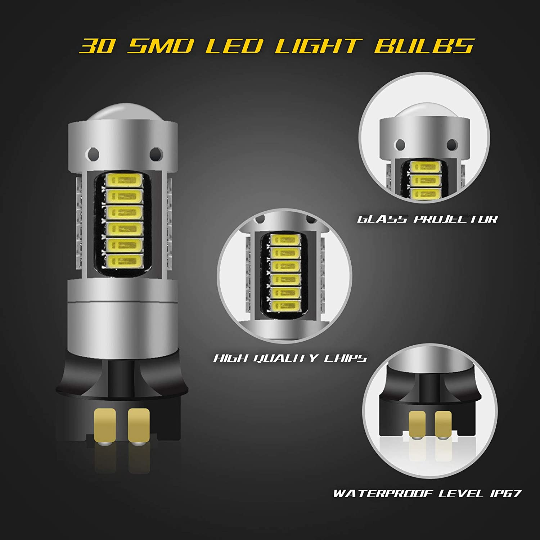 Color Blanco y Amarillo Bombillas LED para Luces de se/ñal de Giro o de circulaci/ón Diurna YaaGoo PW24W PWY24W