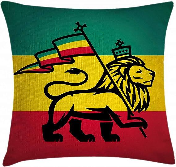 Rasta manta almohada Funda de cojín por Ambesonne, Judá Reggae Rastafari León con una bandera rey jungla tema Art Print, decorativo cuadrado Accent funda de almohada, negro, verde, amarillo y rojo: Amazon.es: