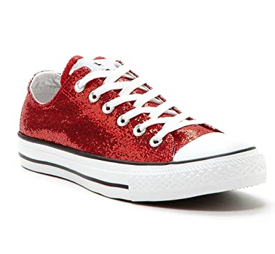 ce66eac72c94 Converse All-Star Ox Lo Top Sneakers Chuck Taylor Red Glitter 136085F  (Unisex Mens 4   Womens 6)  Amazon.co.uk  Shoes   Bags
