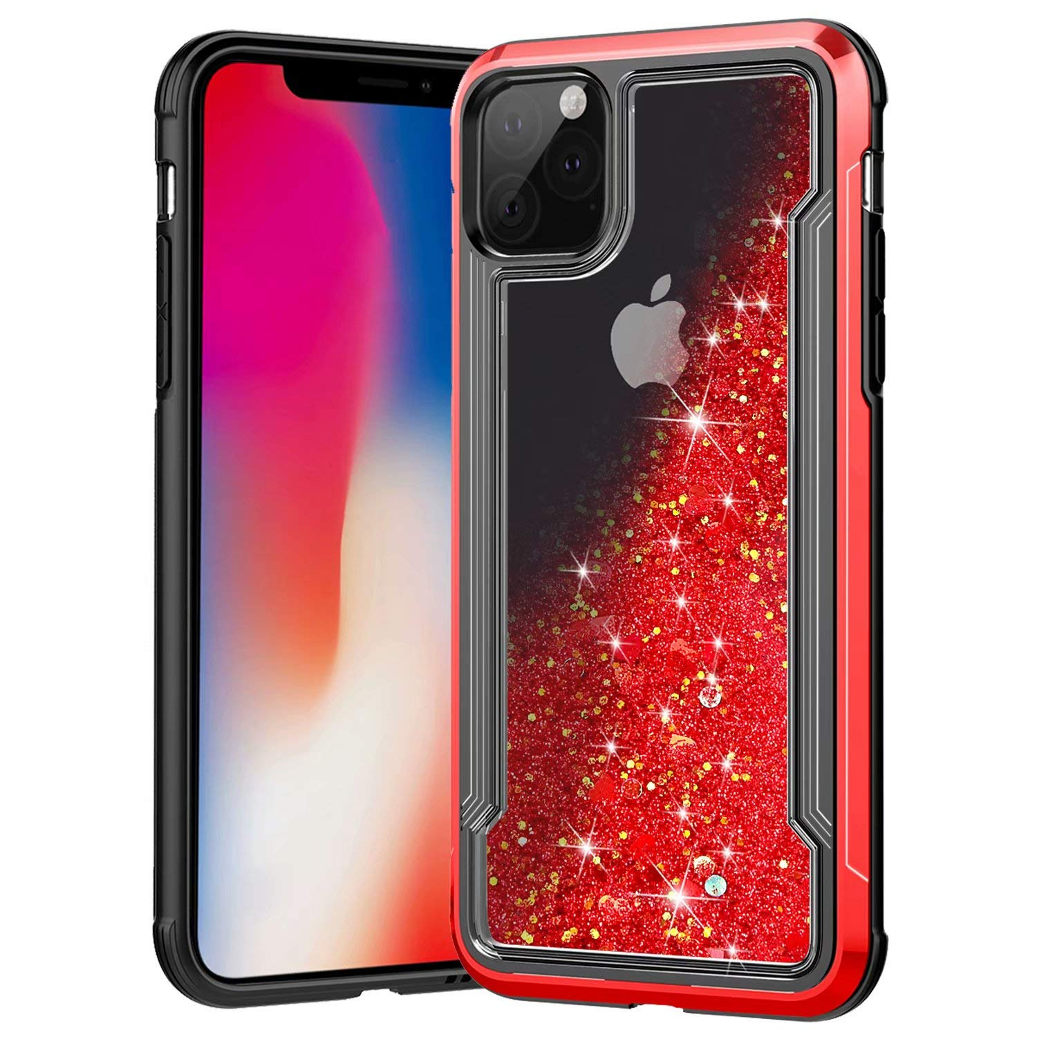 iPhone 11 Pro Max Case, Ranyi Slim Protective Liquid Glitter Case Flowing Liquid Floating Glitter Quicksand Resilient Rubber Electroplated Bumper Case for 2019 6.5 Inch iPhone 11 Pro Max (red) by Ranyi