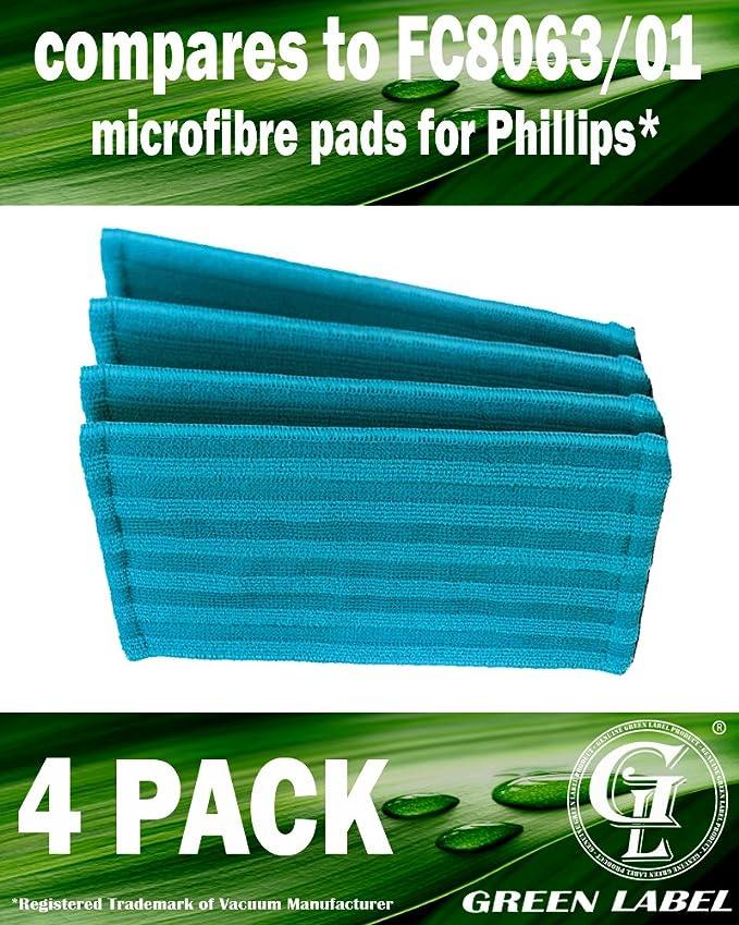 Lot de 4. Lingettes microfibres de rechange pour les aspirateurs balais Philips PowerPro Aqua (alternative à FC8063/01). Produit authentique de Green Label