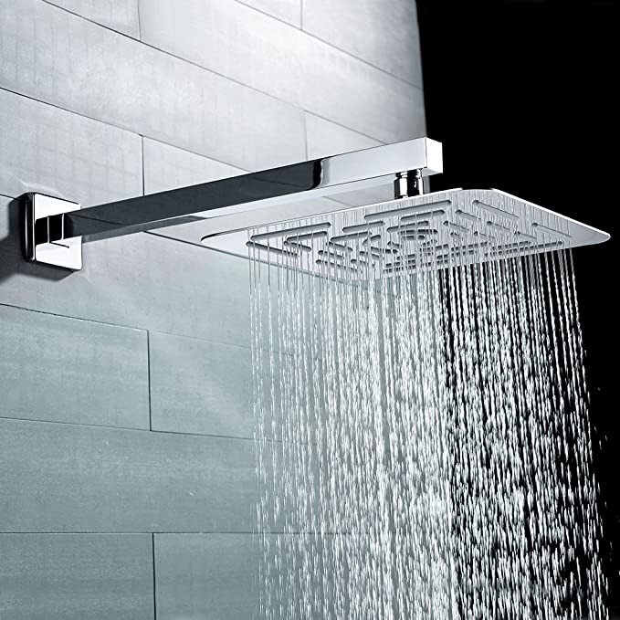 Straight Wall-Mounted Shower Heads Arm with Flange for Bathroom Rainfall Shower Heads Polished Chrome Finished Drenky 16 Inch Square Thicken Stainless Steel Shower Extension Arm