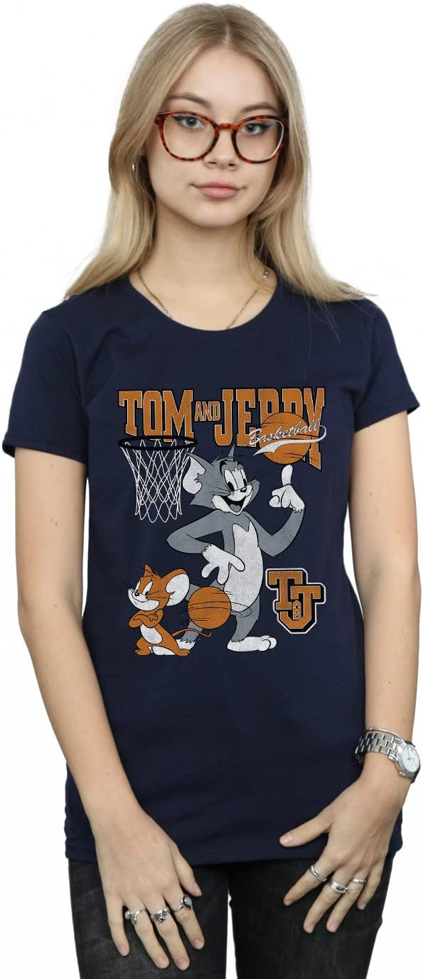 Absolute Cult Tom and Jerry Mujer Spinning Basketball Camiseta ...