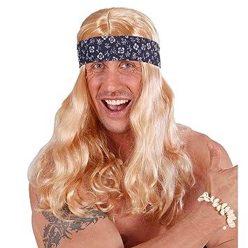 Peluca rubia hippie de pelo largo con diadema hawai carnaval cabello surfer flower power accesorio fiesta