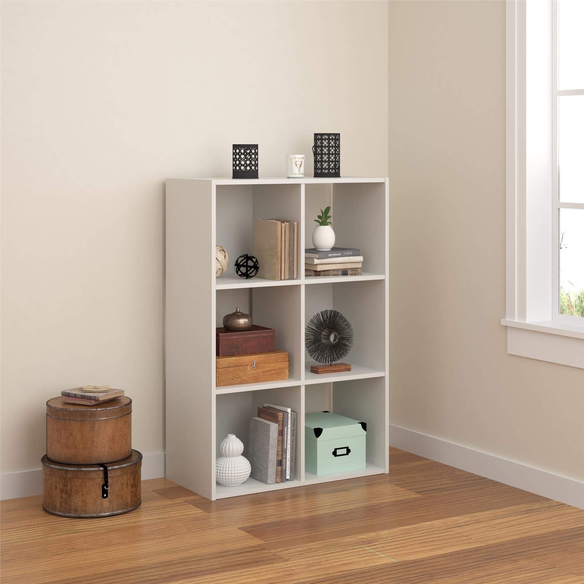 REALROOMS Tally 6 Cube Bookcase, White