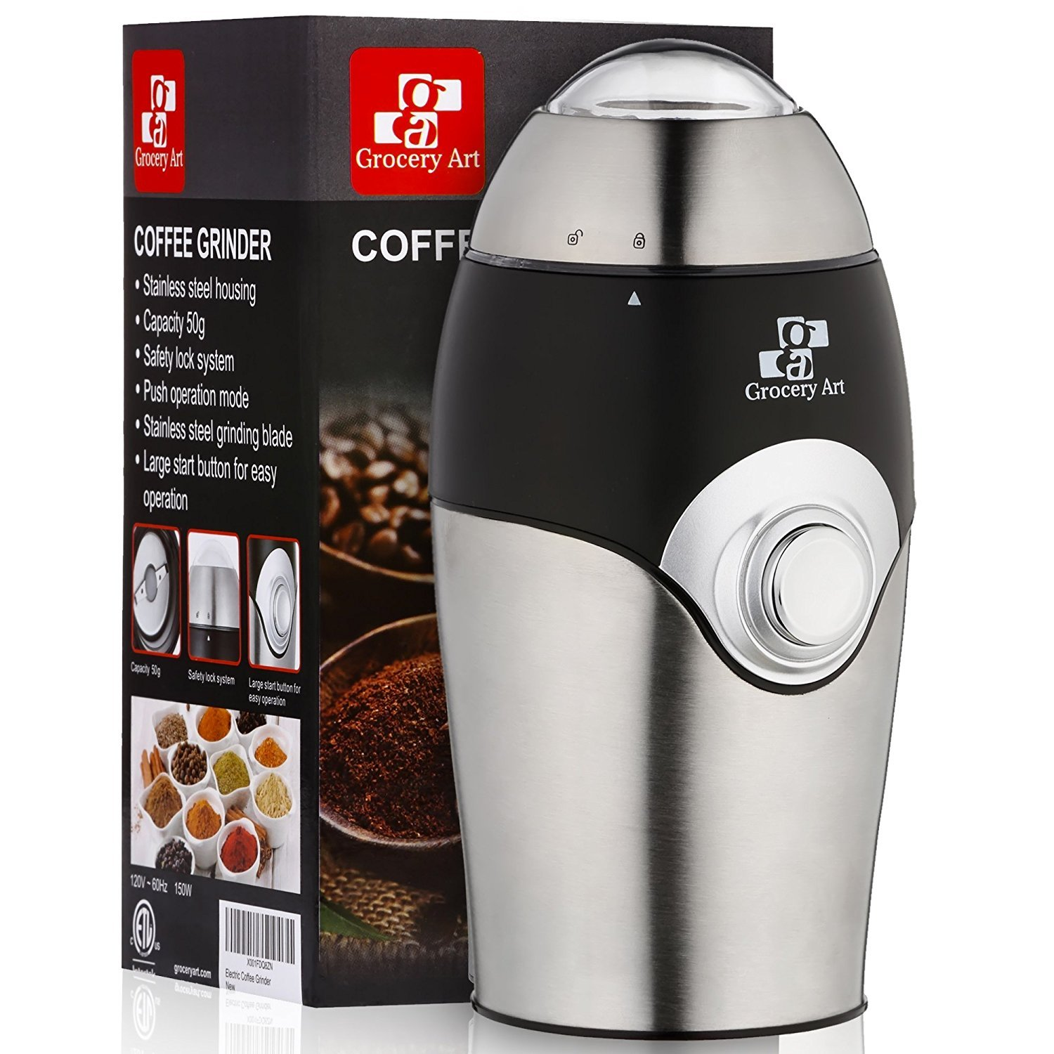 Electric Coffee Grinder Blade Mill - Small & Compact Simple Touch Automatic Grinding Tool for Whole Beans, Herbs, Pepper, Salt & Nuts - Safe No-Mess Counter Top Appliance - Great Coffee Gift Idea