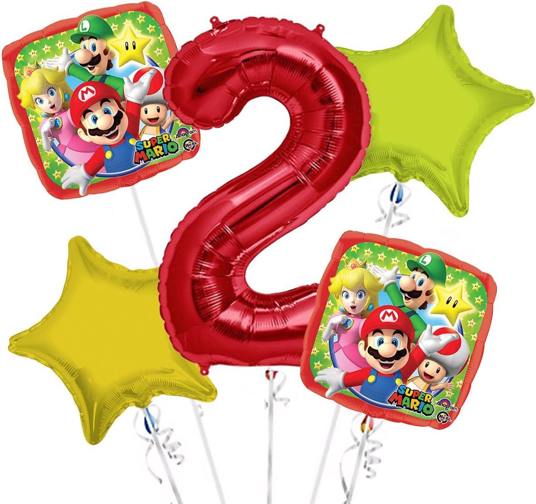 Super Mario Balloon Bouquet 5th Birthday 5 pcs Party Supplies