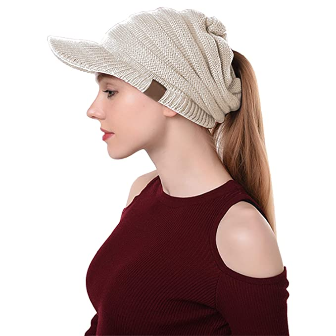 Libertepe Ponytail Beanie Cable Knit Winter Hat with Visor Hole for Women  and Girls Beige 39c598e4664