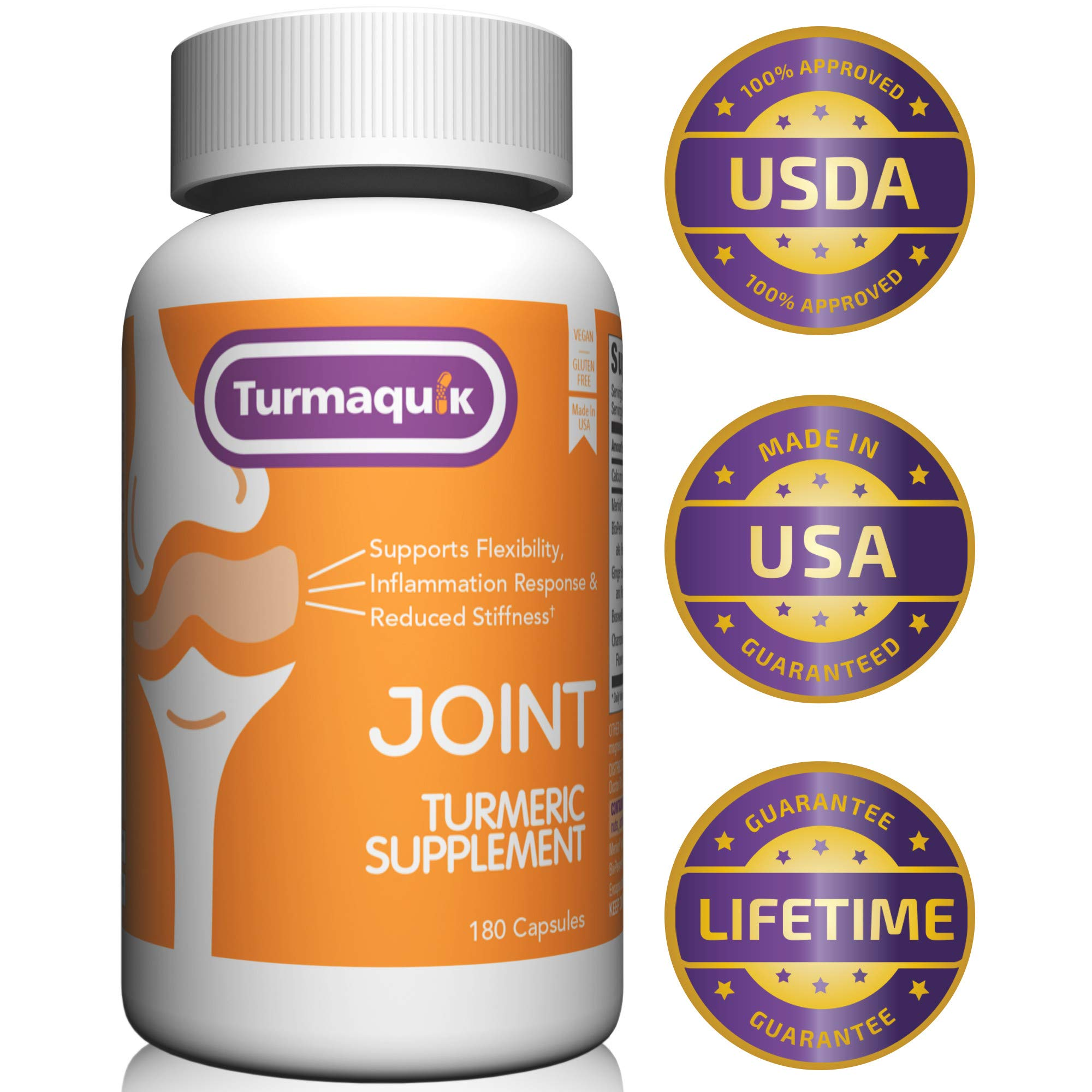 550mg Meriva Curcumin Turmeric Supplement (180 Capsules) + 5 Boosters: BioPerine Black Pepper, Boswellia, Ginger, Chamomile & Calcium