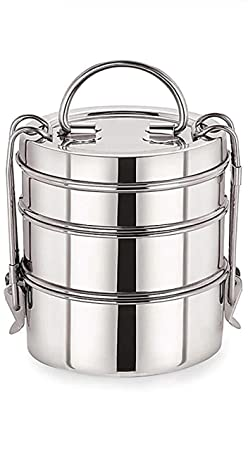 KIARAA Stainless Steel Clip Carrier Lunch Box, 3 Containers