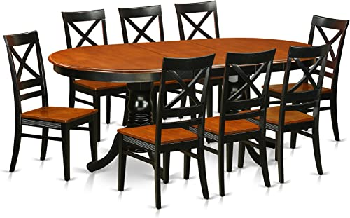 PLQU9-BCH-W 9 PC Dining set-Dining Table with 8 Wooden Dining Chairs
