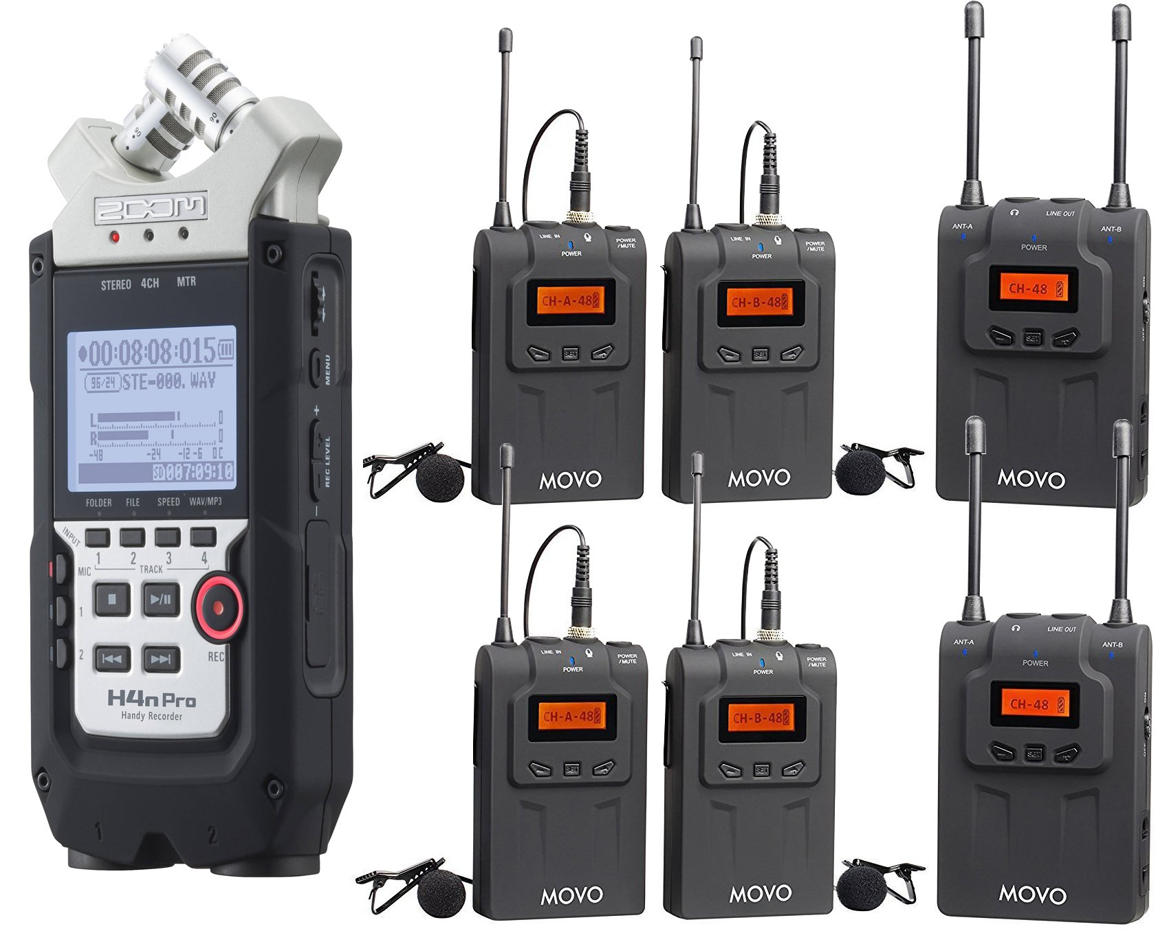 Zoom H4n PRO 4-Channel Handy Recorder Bundle with Movo UHF Wireless Quad  Lavalier Microphone System
