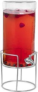 BIRDROCK HOME 1.5 Gallon Beverage Dispenser with Stand and Lid - Hammered Glass - Stainless Steel Spigot - Decorative Round Jar for Drinks - Lemonade Sangria Tea Water Drink Jar Jug - Home Parties