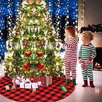 Buffalo Check Christmas Tree Decor.Deggod 36 Inches Plaid Christmas Tree Skirt Pastoral Red And Black Buffalo Check Xmas Tree Base Cover Mat For Christmas New Year Home Party