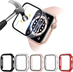 VASG [5 Pack] Hard PC Case Compatible with Apple Watch Series 6 / SE/Series 5 / Series 4 40mm with Built in 9H Tempered Glass Screen Protector, Full Cover Bumper Compatible with iWatch 40mm
