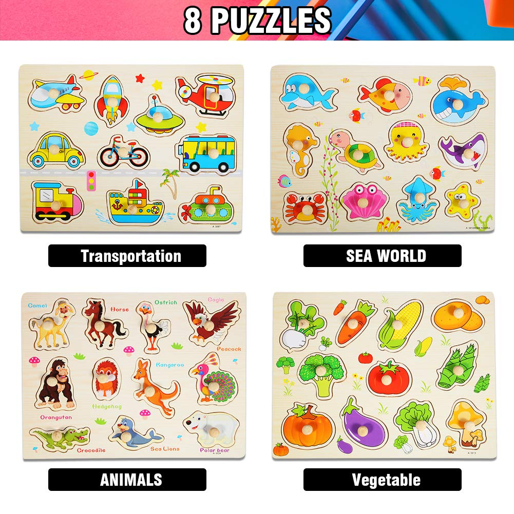Numbers Animals Vehicles Ocean 8PACK Wooden Peg Puzzles for Toddlers 1 2 3 Year Olds Vegetables Fruits and Farm,Educational Learning Toys for Girls /& Boys. Letters Kids Puzzles Set