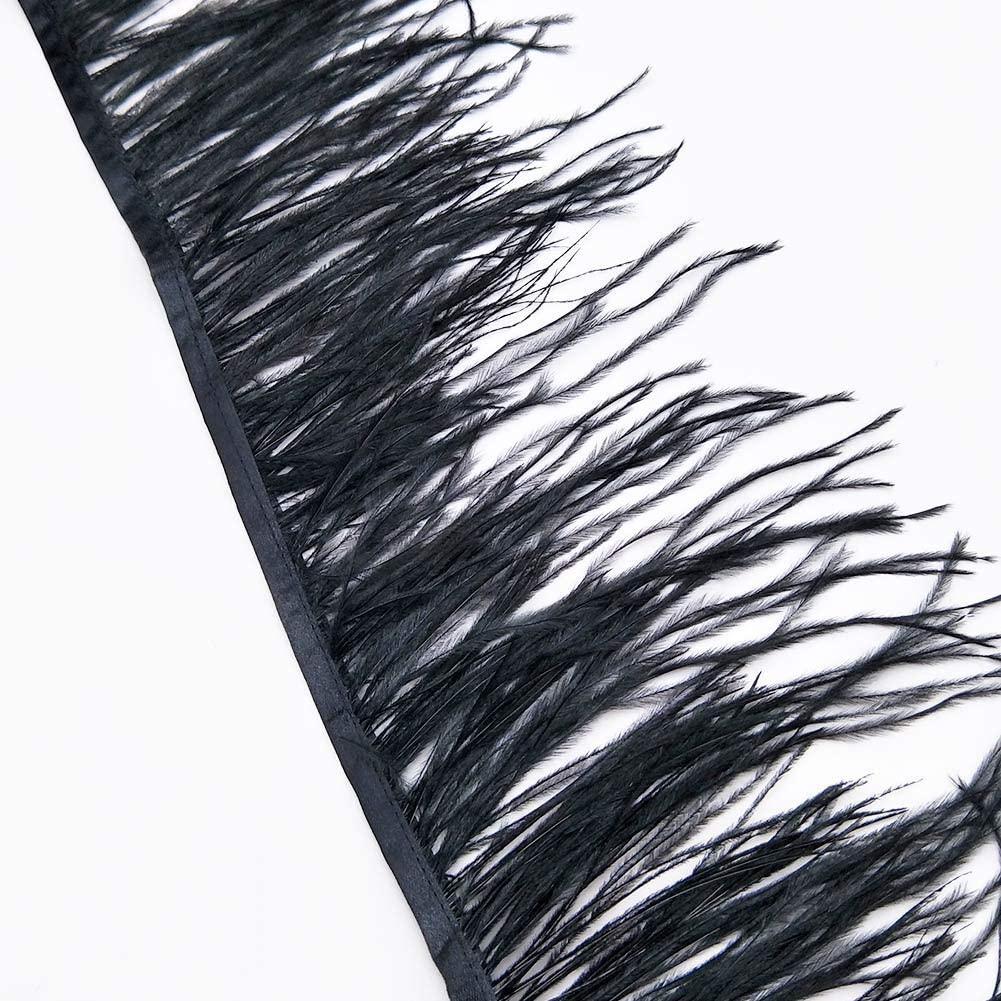 Black 2 Yards of Pack Ostrich Feathers Fringe Trim