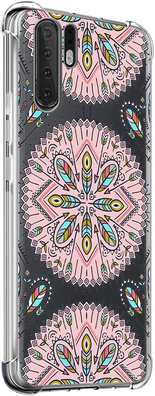 Suhctup Funda Compatible con Huawei Honor V20 Carcasa Transparente,Dibujo Diseño Flor [Protección Caídas] Ultra-Delgado Flexible Silicona TPU Estuche Cover para Huawei Honor V20,Mandala 1
