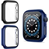 ZEBRE 2 Pack Case Compatible with iWatch Series 6/5/4/SE with HD Tempered Glass Screen Protector, Full Coverage Hard PC Frame