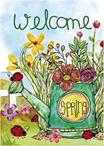 Morigins Welcome Spring Kettle Floral Double Sided Spring Blooms Garden Flag 12.5 x 18 Inch