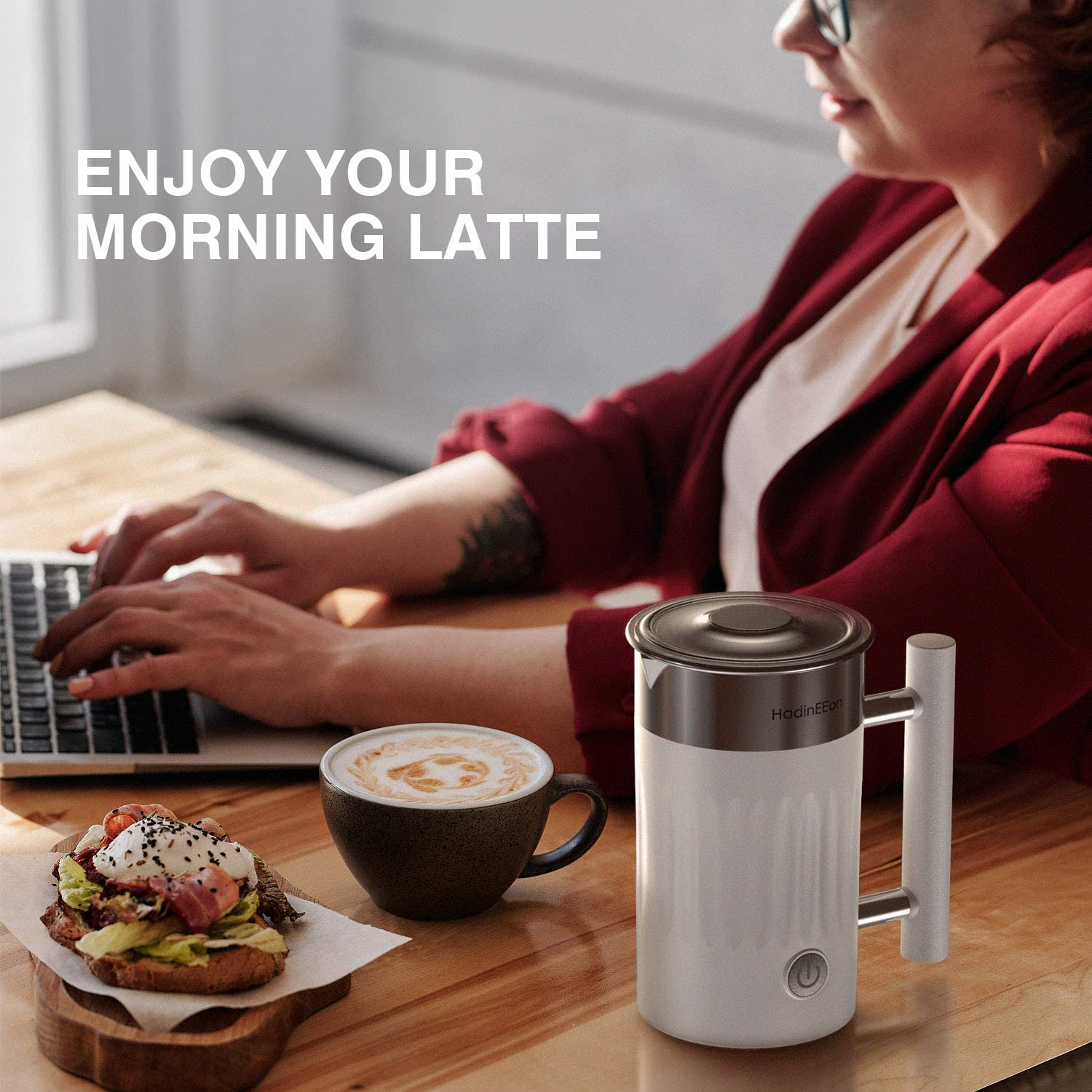 Hot Chocolates Automatic Hot Cold Milk Steamer for Coffee 5.1oz//10.1oz HadinEEon Milk Frother 5 in 1 Electric Magnetic Milk Frother and Hot Chocolate Maker Stainless Steel Cappuccino Latte