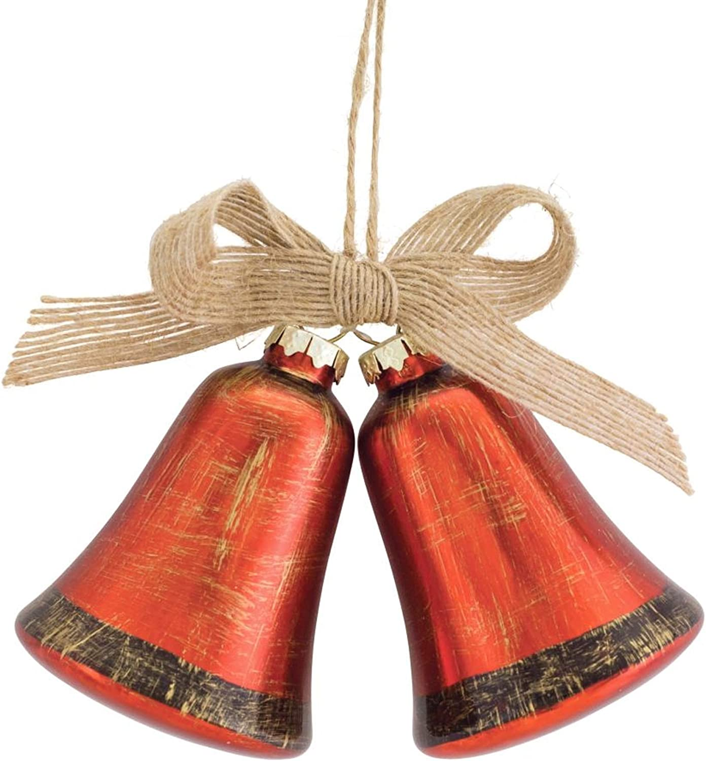 """Diva At Home 5.5"""" Glossy Orange Jingle Bell Christmas Wall Hanging Ornament with Bow"""