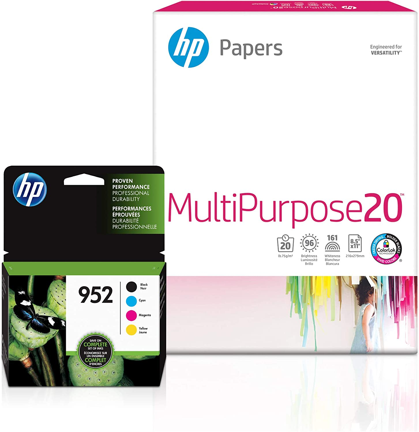 HP 952 | 4 Ink Cartridges with 150 Sheets of 8.5x11 Paper | Black, Tri-Color | F6U15AN, L0S49AN, L0S52AN, L0S55AN