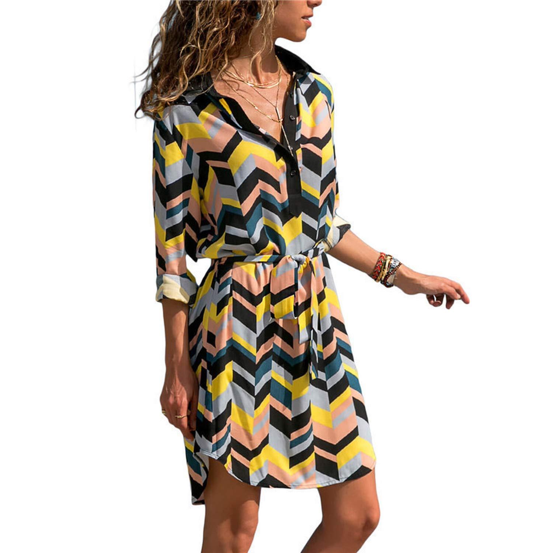 2efd4c153c11f Lovii Newest Long Sleeve Shirt Dress 2019 Summer Chiffon Boho Beach ...