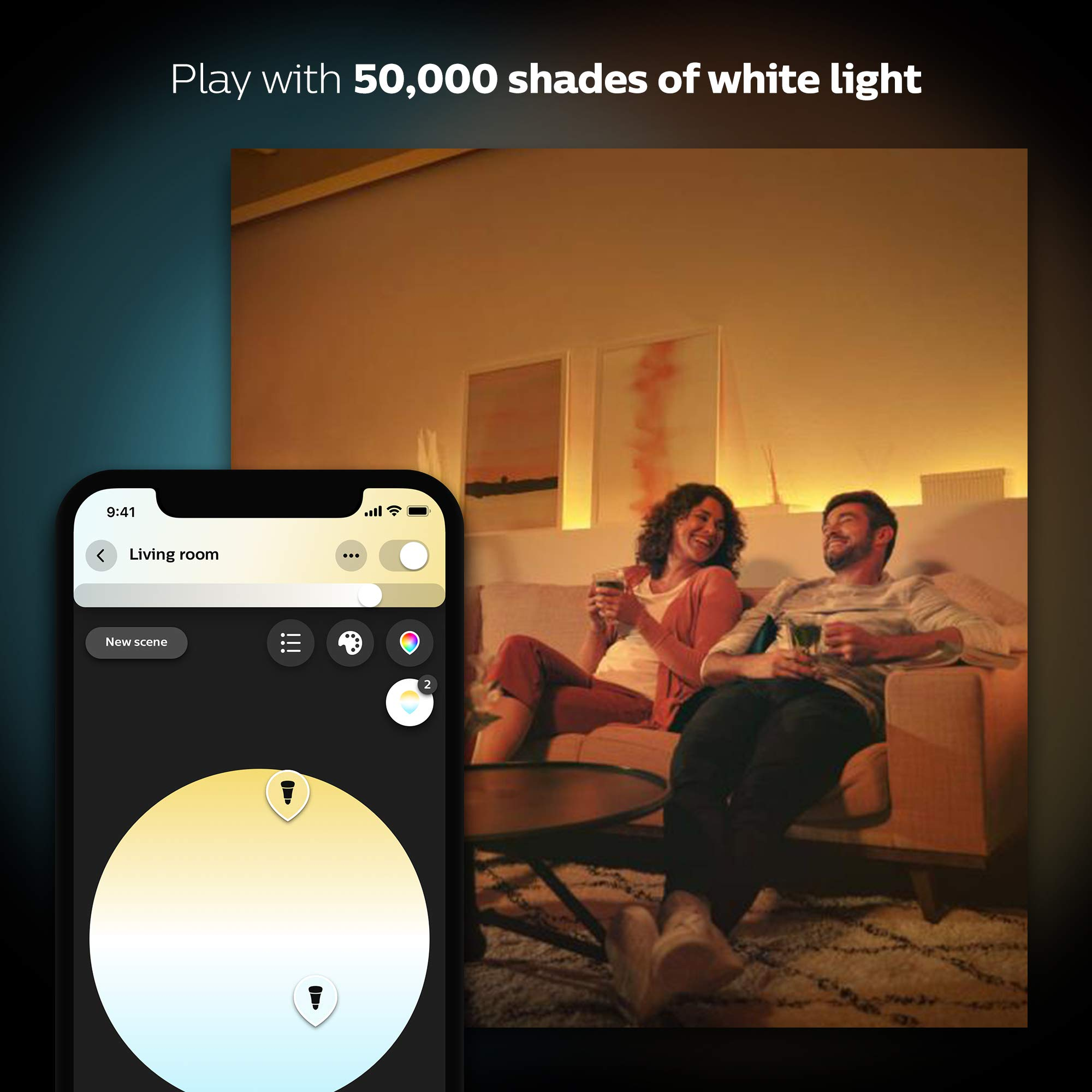 Philips Hue White and Color Ambiance A19 60W Equivalent LED Smart Light Bulb Starter Kit  4 A19 Smart Bulbs and 1 Bridge, Works with Alexa, Apple HomeKit and Google Assistant (California Residents)