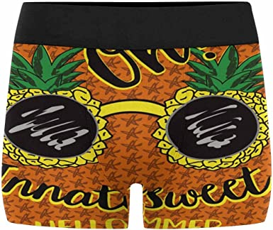 XS-3XL INTERESTPRINT Mens Boxer Briefs Underwear Pineapples on Yellow