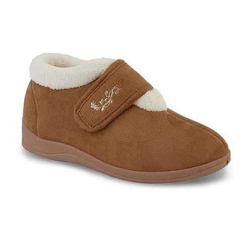 Zapatillas Dunlop Deloris, para mujer, con forro polar, amplias, ajustables, con velcro, color Beige, talla 39 EU: Amazon.es: Zapatos y complementos