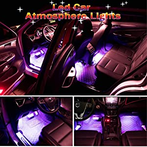 Car LED Strip Light, Auto Parts Club 4pcs 36 LED Car Interior Lights Under Dash Lighting Waterproof Kit,Atmosphere Neon Lights Strip for Car,DC 12V(Pink)…