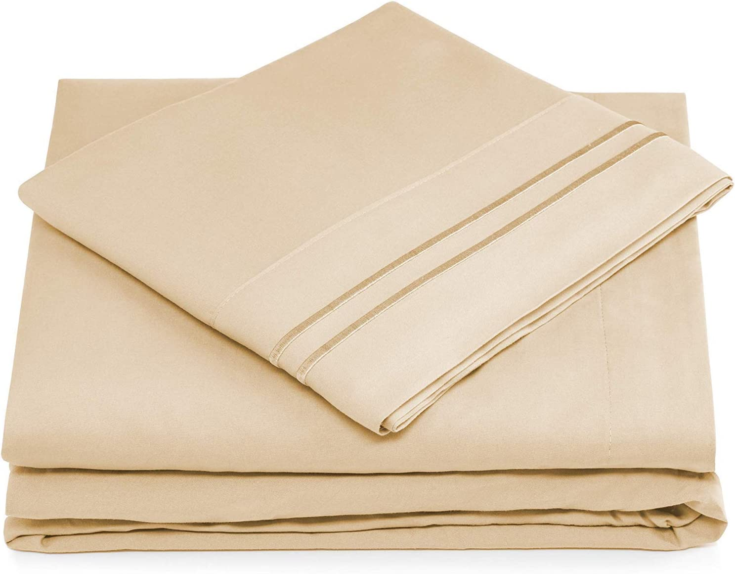 Cosy House Collection Twin Size Sheet Set - 3 Piece - Deep Pocket Twin Bed Sheets - Extra Soft, Hypoallergenic, Cool & Breathable Bedding - Wrinkle, Stain & Fade Resistant Bedset (Twin, Cream)