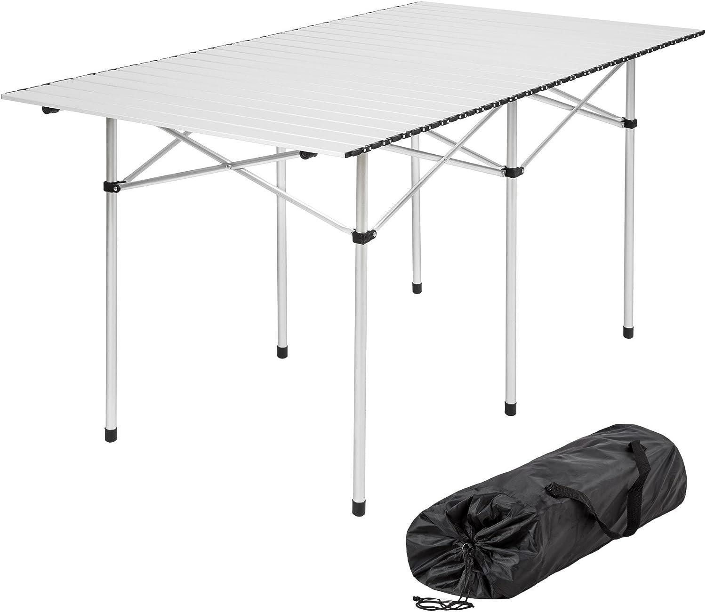 TecTake Mesa Plegable de Aluminio portátil Camping terraza jardín Mesa Multifuncional - Varios Modelos - (No. 401170: 140 x 70 x 70 cm): Amazon.es: Deportes y aire libre