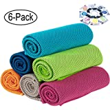"""GeTeLe [6 Pack] Cooling Towel 36""""x12"""", 47""""x12"""" Soft Breathable Ice Sports Towel Keep Cool Chilly Towel Super Absorbent…"""