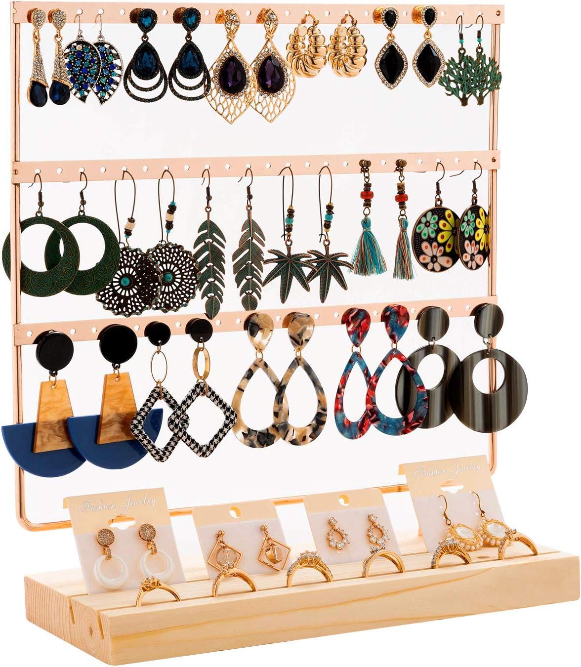 QILICZ Soporte para joyas, soporte para pendientes, 69 agujeros, soporte para pendientes, color oro rosa, organizador con anillos de madera, caja, expositor para pendientes, 30 x 27 cm, joyas, árbol