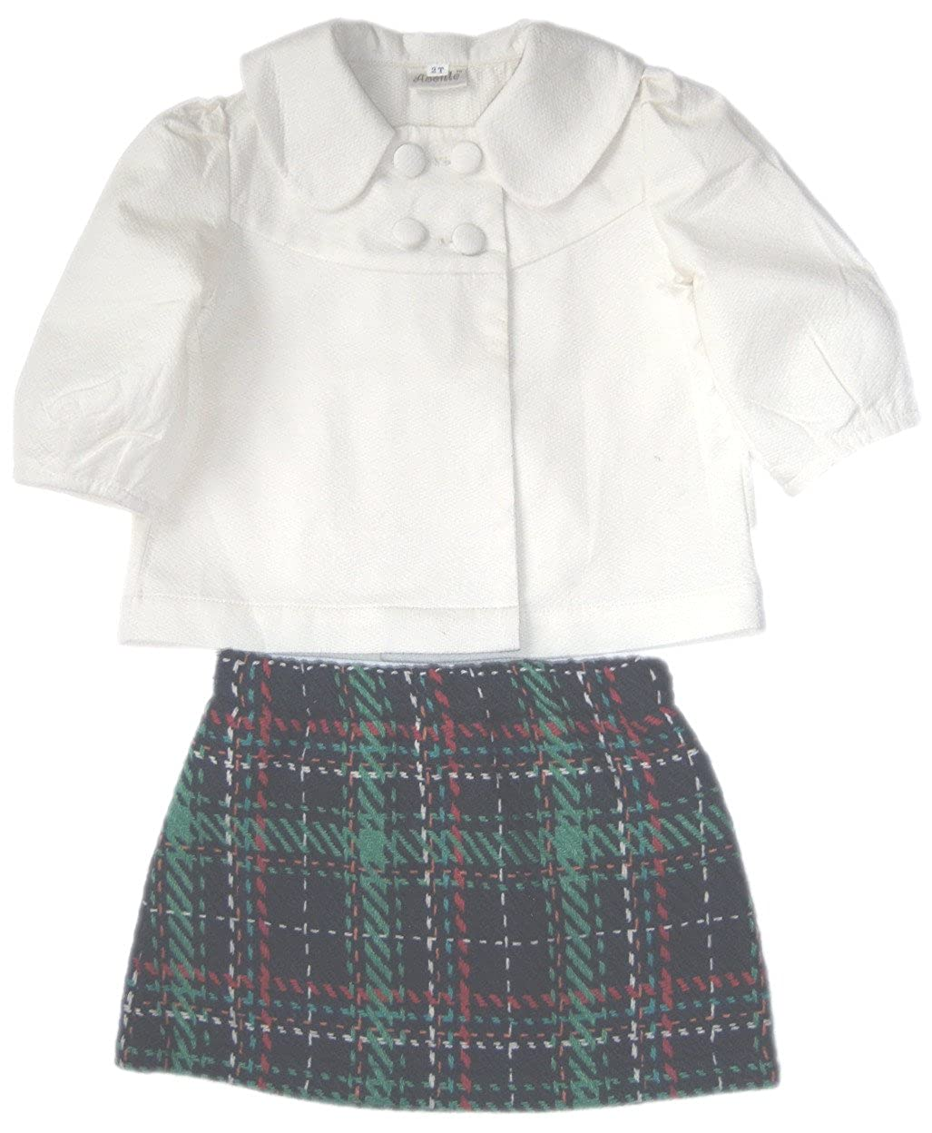 Green Checked Skirt Size:2T Abeille Girls White Shirt
