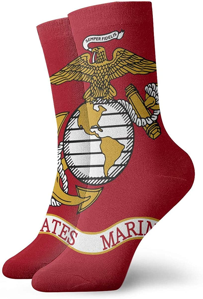 Flag Of The United States Marine Corps Adult Short Socks Cotton Fun Socks For Mens Womens Yoga Hiking Cycling Running Soccer Sports