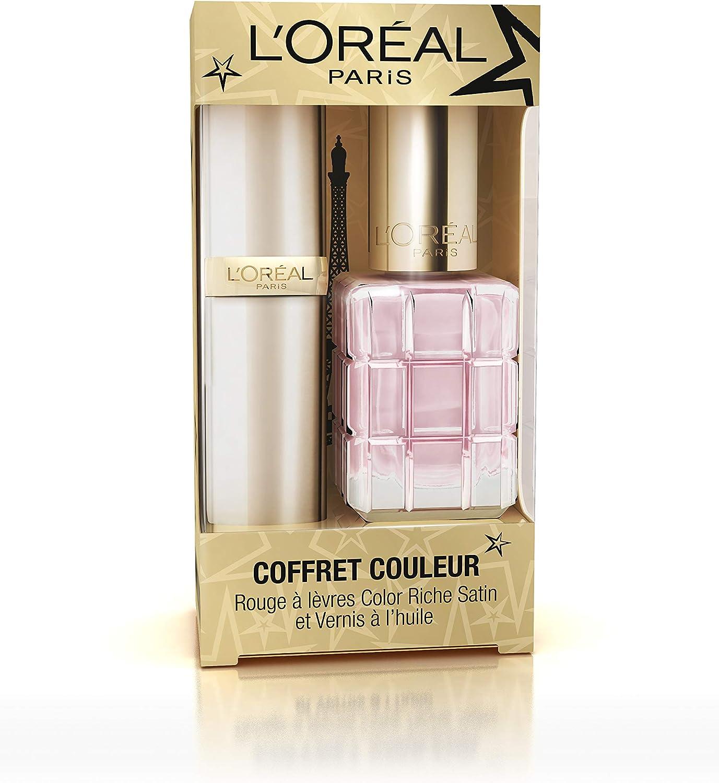 L Oréal Paris edición limitada Navidad estuche Pintalabios color Riche Satin/VERNIS óleo: Amazon.es: Belleza