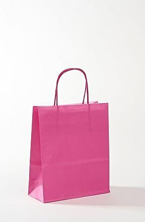 Rosa bolsas de papel Kraft - pequeñas manijas retorcidos x ...