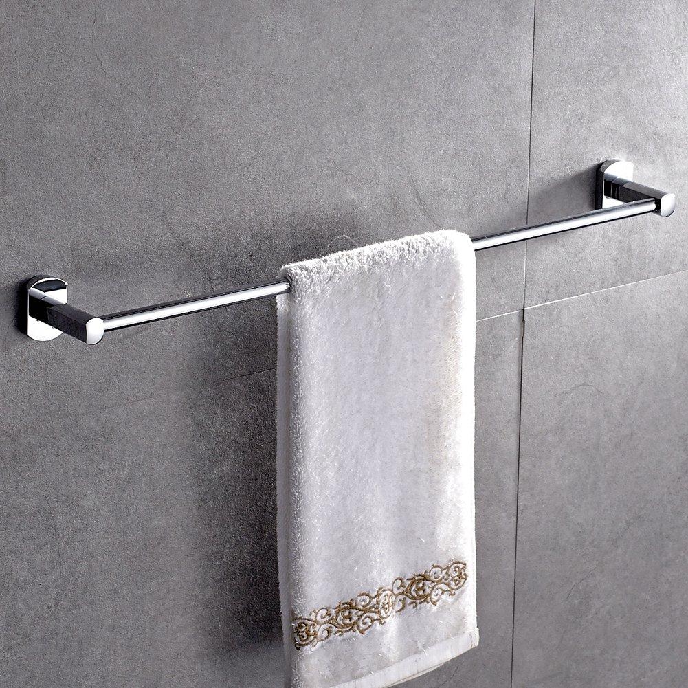 ROVATE 24-inch Towel Bar, Brass Wall Mount Single Shelf Rack Hanging Towel for Bathroom Storage, Chrome