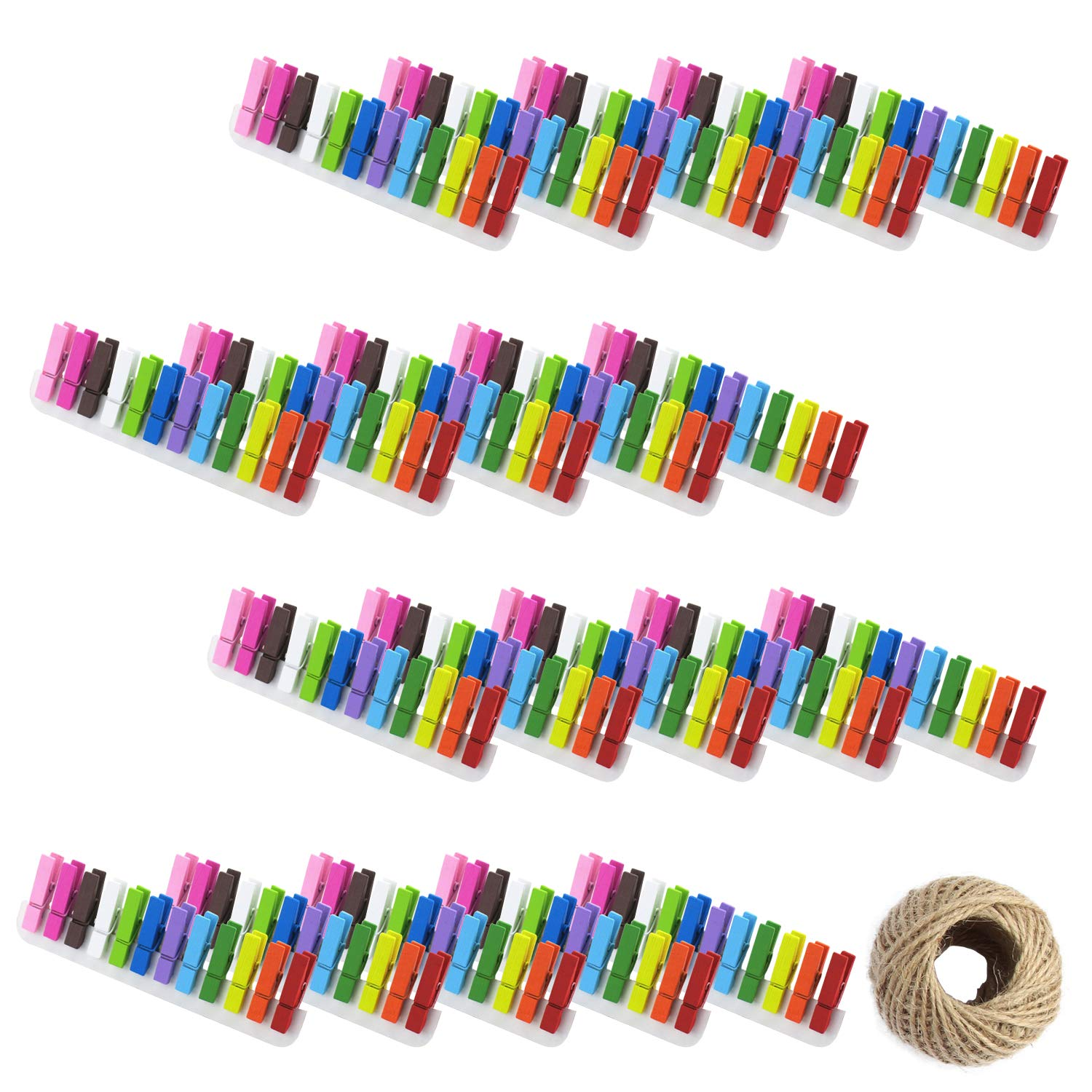 Tosnail 240 Pieces Mini Wooden Clothespins Photo Clips Paper Peg Pin Craft Clips with Jute Twine - 12 Color Assorted by Tosnail