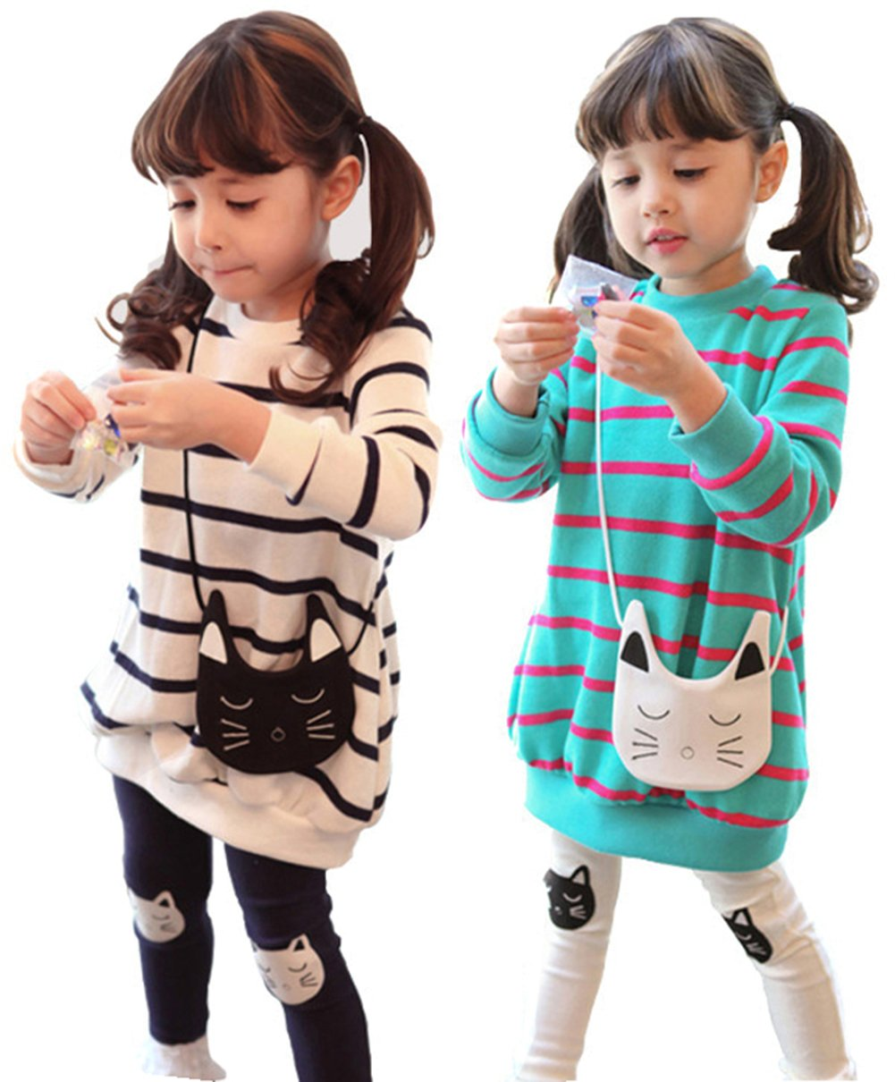 Girls Spring Autumn Cartoon Striped Clothing Sets Long Sleeve Tops + Pants C1020Y