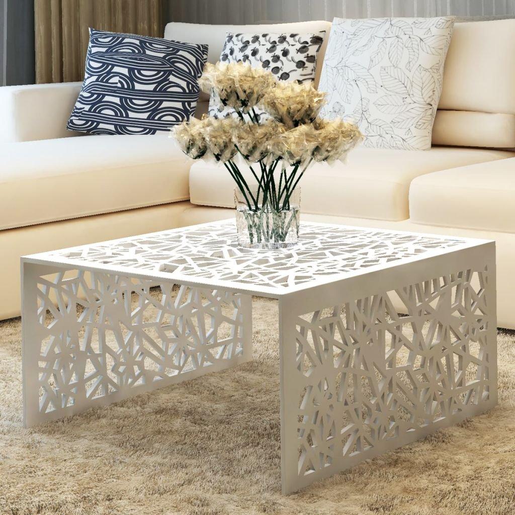 Table Basse moderne pas cher -Table de Salon Aluminium - Meuble Design géométrique ajouré Argent